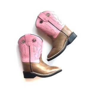 Old West Pink Toddler Boots Square Toe (size 070)